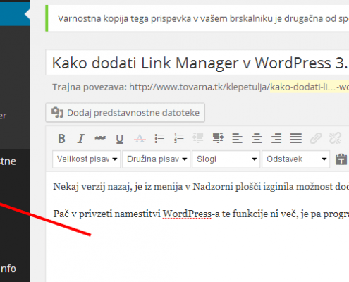 Kako dodati Link Manager v WordPress 3.5+