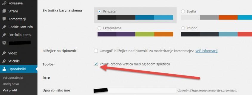 Kako skriti WordPress admin orodno vrstico