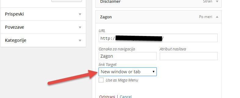 Kako dodati target _blank povezavo v WordPress navigacijski meni