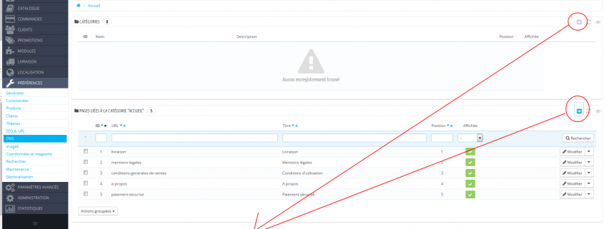 Težava z dodajanjem CMS strani v Prestashop 1.6.0.9