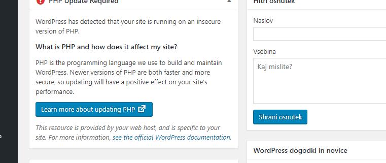 WordPress sedaj priporoča najmanj PHP 7.2